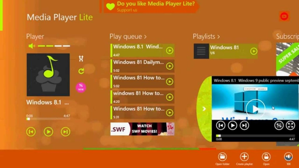 Media Player Lite cho Windows 8