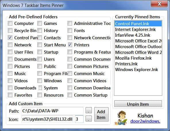 Taskbar Items Pinner phan mem may tinh cho win 7